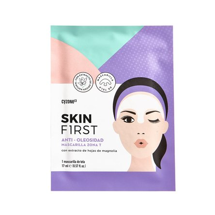 mascarilla facial de tela anti oleosidad skin first